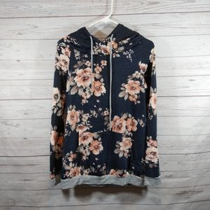 12pm by Mon Ami blue floral hoodie sweatshirt